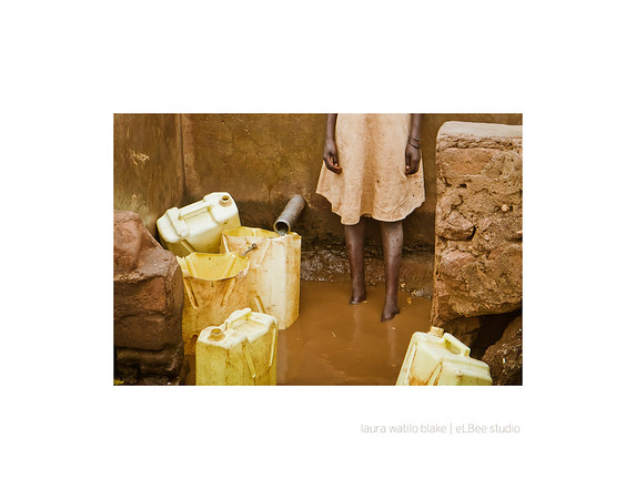 STANDING WATER A girl fills a jerry can at a source of water contaminated by human and animal excrement, not to mention environmental waste from an unauthorized brickmaking operation. Many Ugandans do not have access to safe water from protected sources. As a result, they run the risk of serious illness while depending on unsafe sources, such as rivers, lakes and unprotected springs.